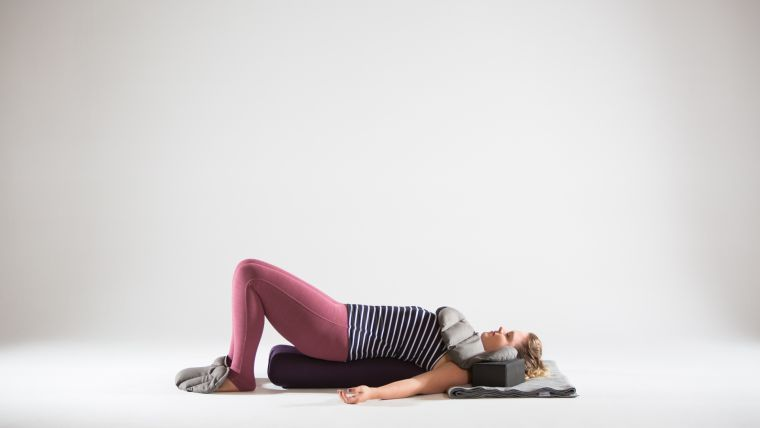 restorative-bridge-with-yoga-sandbags